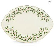 New Lenox Holiday Carved Oval Platter 13.75