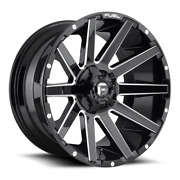 4 24x12 Fuel Gloss Black And Milled Contra Wheel 6x135 6x139.7 For Ford Jeep