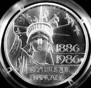 1886-1986 French 100 Franc Silver Coin Bu Statue Of Liberty .8681 Oz Silver