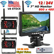 Rvs Truck Wireless Dual Back Up Camera Parking Rear View System 7 Hd Monitor