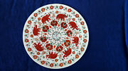 Marble Plate Carnelian Elephant Floral Inlay Design Kitchen Patio Decor H4084