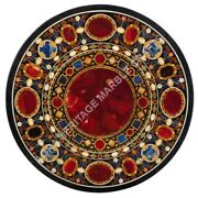 Marble 34 Round Dining Table Top Scagliola Inlay Italian Christmas Decor E1518