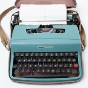 Vintage Olivetti Lettera 32 Blue Manual Typewriter In Portable Case Working
