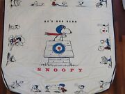 Vtg 1960s Snoopy Red Baron Charlie Brown Peanuts Schulz Queen Full Blanket 8and039x8and039