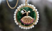 Vintage 14k Gold Jade Pearl And Natural Ruby Figural Brooch Pin Ballerina Necklace