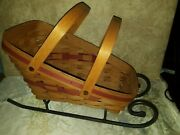 Large Longaberger 1991 Holiday Sleigh Basket Combo And Wrought Iron Sleigh Runners