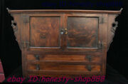 Antique Chinese Huanghuali Wood Dynasty Carving Drawer Locker Cabinet Set Statue