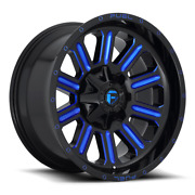 4 20x12 Fuel Gloss Black And Blue Hardline Wheels 6x135 6x139.7 For Ford Jeep