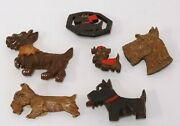 Vtg 1940s Scottie Dog Wooden Carved Pin Lot Of 6 Syroco Wood And Wood