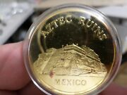 1971 Silver Proof Medal 24 Kt Gold Plate, Mankind Wonders, Aztec Ruins Mexico