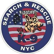 Nyc Police K-9 Search And Rescue 9/11/01 Reflective Vinyl Decal Sticker