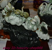 China 100 Natural Dushan Xiuyu Jade Stone Carving Lotus Flower Dragonfly Statue