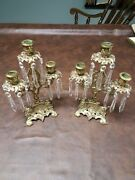Antique Very Very Old 12 Inch Ornate Brass And Glass Triple Candle Holder Set
