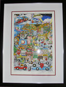 Charles Fazzino Looney Tunes Hollywood Framed Hand Signed 3-d Serigraph Art