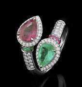 1.53ct Natural Round Diamond Ruby Emerald 14k White Gold Cocktail Ring Size 7