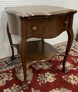 Antique American Golden Oak Claw Foot Large Occasional Table With Drawer C1890