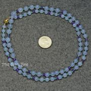 18k Solid Gold Chrysoprase Amethyst Lavender Chalcedony Round Bead 33.8 Necklace