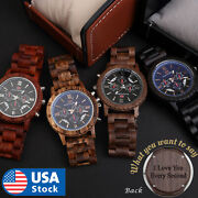 Custom Name Wood Watch Wooden Quartz Date Display Menand039s Wristwatch Gift For Men