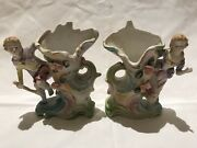 Japan 3d Vase With Royal Children And Flowers Hand Painted Chalkware