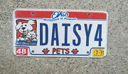 Real Ohio License Plate Auto Number Car Tag Vanity Daisy For 4 Pets Spay Neuter
