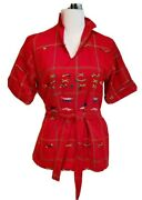 Vintage 60s Inditos Hand Woven Embroidered Guatemalan Red Tunic Shirt Sash S/m