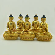 Hand Made Copper Alloy With Gold Gilded Dhyani Buddha Or Pancha Buddha Statues