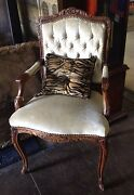 Antique Side Chair Authentic French Button And Tucked Back Louis Xv Style Accent