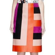 🎈emilio Pucci £2400+ Patchwork Leather Skirt With Tags Made In Italy Size 36-40