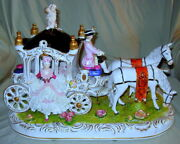 Dresden Horse Drawn Carriage With 2 Lady Passengers Coachman And Floral Base
