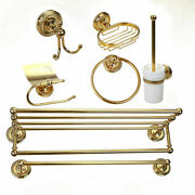 7 Pcs Gold Wall Mount Towel Rack Ring Hook Toilet Paper/brush Holder Soap Dish
