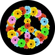 Flower Power Peace Sign Spare Tire Cover All Sizes Available-back Up Camera Opt