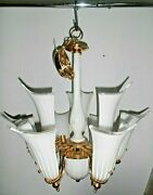 Large Amazing 9 Light Hanging Lamp Chandelier Murano Glass Shades Italy