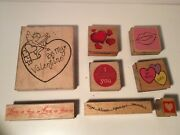 8 Different Rubber Stamp Valentines Day Love, Hugs, Kisses, Lips, Be Mine +++