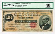 Fr. 1178 1882 20 Gold Certificate Note Lyons / Roberts Pmg Extremely Fine 40.