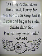 Protect My Ride Prayer Sticker For Hot Rods Gasser Rat Rods..