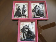 Lot Of 3 Victorian Figurine Glass Silhouette Pictures