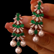 Christmas Tree Solid 14k White Gold Natural Green Emerald Diamond Pearl Earrings