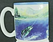 Fly Fisherman With Trout On Line Vintage Coffee Mug 1989 Potpourri Press New