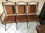 Antique Chair Set Metal And Leather Includes Coffee Table. Whole Set For 600.00