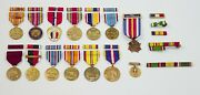 Lot Military Medals With Ribbons And Ribbons Bars War Ii
