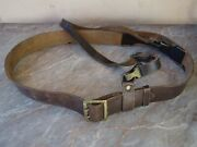 Vtg Old Wwii Ww2 Military German Officer 53.5and039and039 Double Claw Buckle Leather Belt