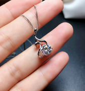 2ct Round Cut Moissanite Anitique Pendant Necklace 14k White Gold Fn Free Chain