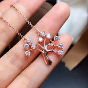 3mm Round Diamond Christmas Tree Pendant Necklace 14k Rose Gold Over Free Chain