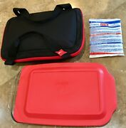 1 Set 3-qt Pyrex Glass Food Storage Containers Carrier Bag Bakeware Baking Dish