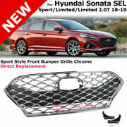For 18-19 Hyundai Sonata | Sport Bumper Without Icc Trim Insert Chrome Grille
