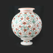 10and039and039 Marble Flower Pot Hakik Malachite Inlay Marquetry Living Room Gifts H3751