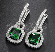 1.70ct Natural Round Diamond 14k Solid White Gold Emerald Hoops Clip On Earring