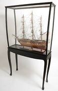 Display Stand Case For Tall Ship Yacht Boat Models Decor Wood And Plexiglass Floor