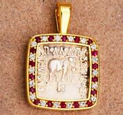 Ancient Baktria Silver Elephant Coin In 18kt Gold And Diamond Pendant 174-165 B.c.