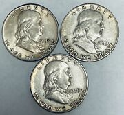 Lot Of 3 Franklin Silver Half Dollars 1949-p 1949-d And 1949-s Au/bu